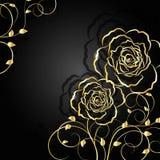 Gouden bloemen met schaduw op donkere achtergrond royalty-vrije illustratie