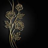 Gouden bloemen met schaduw op donkere achtergrond stock illustratie