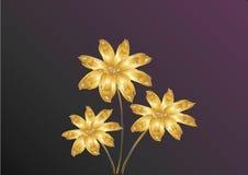 Gouden bloemen op donkere achtergrond vector illustratie