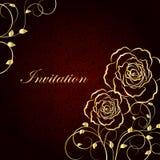 Gouden bloemen op donkerrode achtergrond stock illustratie