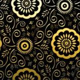 Gouden Bloemen op Zwarte Achtergrond Stock Fotografie