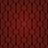 Gouden bloemen uitstekend naadloos patroon op een rode achtergrond Stock Foto