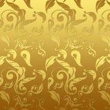 Gouden bloemen van het damast Stock Afbeeldingen