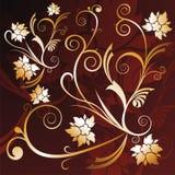 Gouden bloemenachtergrond Royalty-vrije Stock Fotografie