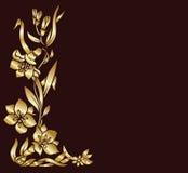 Gouden bloemendecor vector illustratie