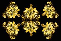Gouden bloemenelementen Royalty-vrije Stock Afbeeldingen
