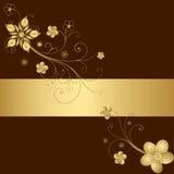 Gouden bloemenframe Stock Foto's