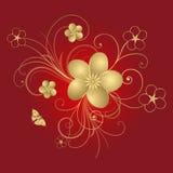 Gouden bloemenframe Stock Afbeeldingen
