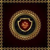 Gouden bloemenframe met heraldische elementen Stock Foto's