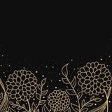 Gouden bloemenontwerp als achtergrond Stock Foto