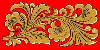 Gouden bloemenornament op rood Stock Afbeelding