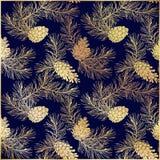 Gouden bloemenpatroon met denneappels en takken Stock Fotografie