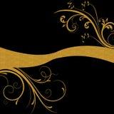Gouden bloemenwervelingen op zwarte achtergrond Royalty-vrije Stock Afbeeldingen