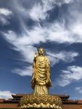 Gouden Boedha die zich lang op de lotusbloem bevinden royalty-vrije stock foto's
