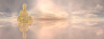 Gouden Boedha, 360 graden 3D effect - geef terug Royalty-vrije Stock Afbeelding