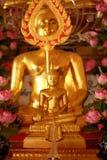 Gouden Boedha met roze lotusbloemzijde Royalty-vrije Stock Fotografie