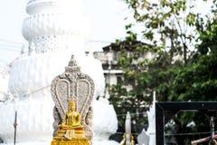 Gouden Boedha vond bij de binnenplaats van een Chedi in Thailand Stock Foto's