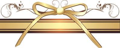 Gouden boog met ornament op het decoratieve lint Stock Afbeelding