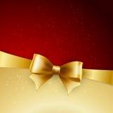 Gouden boog op rode achtergrond Vector illustratie Stock Afbeeldingen