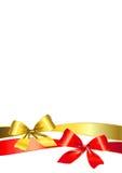 Gouden boog, rode robbon Royalty-vrije Stock Foto's