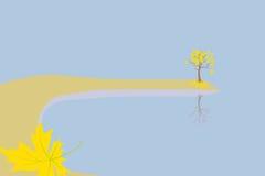 Gouden boom dichtbij water Royalty-vrije Stock Foto