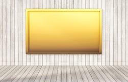 Gouden bord op houten muur en vloer, teruggegeven 3d Royalty-vrije Stock Foto's