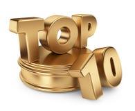 Gouden bovenkant 10 op podium. 3D pictogram   Royalty-vrije Stock Fotografie