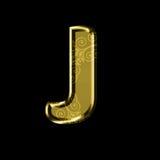 Gouden brief J met bloemenornament Geïsoleerd op Zwarte Stock Fotografie