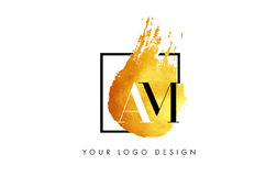 AM Gouden Brief Logo Painted Brush Texture Strokes Stock Foto