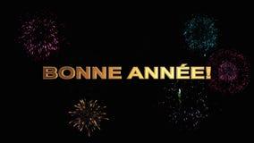 Gouden brieven gelukkig nieuw jaar in het Frans tegen helder feestelijk vuurwerk vector illustratie