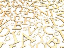Gouden brievenachtergrond Stock Afbeelding