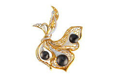 Gouden broche met parels en diamanten Royalty-vrije Stock Foto's