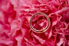 Gouden bruiloft duidelijke ringen op roze of karmozijnrode bloemblaadjes Stock Fotografie