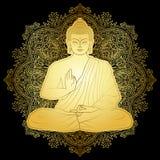 Gouden Bubbha-Zitting in Lotus-positie Royalty-vrije Stock Fotografie