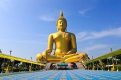 Gouden Buddhas in Wat Muang, Thailand Stock Foto