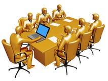 Gouden businessmans werken een bijeenkomst stock illustratie