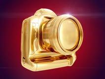 Gouden Camera het 3d teruggeven Stock Afbeeldingen
