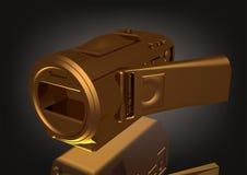 Gouden camera op een zwarte royalty-vrije illustratie