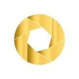 Gouden camerablind Rond pictogram Cirkelembleem Stock Foto's