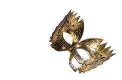 Gouden Carnaval masker De ruimte van het exemplaar Het Masker van de maskerade dat op witte achtergrond wordt geïsoleerds stock afbeelding