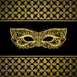 Gouden Carnaval-masker met luxeachtergrond Stock Foto's
