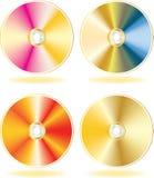 Gouden CD, geplaatste schijven DVD. Stock Foto's