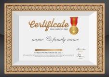 Gouden Certificaat van Voltooiingsmalplaatje Stock Foto