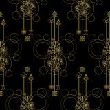Gouden Cherry Flowers Seamless Pattern Stock Afbeeldingen