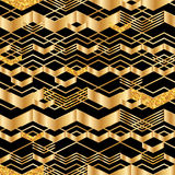 Gouden chevron de lijn schittert naadloos patroon stock illustratie