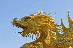 Gouden Chinees draakstandbeeld Stock Foto's