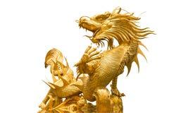 Gouden Chinees draakstandbeeld Royalty-vrije Stock Foto