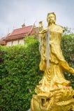 Gouden Chinees godsbeeld in tempel, Thailand Stock Afbeelding