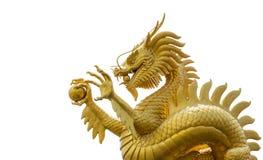 Gouden Chinese draak Royalty-vrije Stock Foto