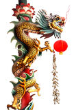 Gouden Chinese Draakstatus Royalty-vrije Stock Foto's